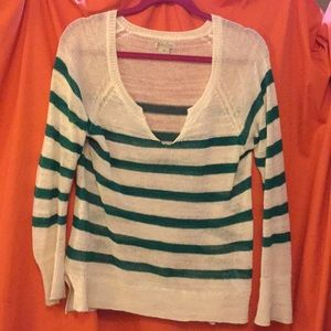 LUCKY BRAND White and Green Striped Sheer Sweater